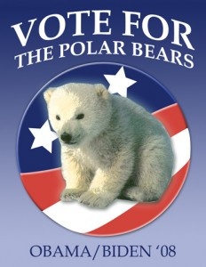 Vote For The Polar Bears Poster design featured in Design for Obama book.