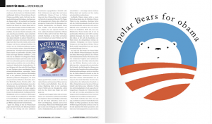 "My ""Vote for the Polar Bears"" Poster design shown on the left page of the Design for Obama book."