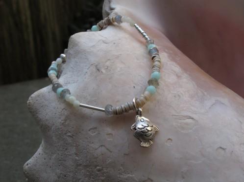 Balance Bracelet with tiny Fish Charm