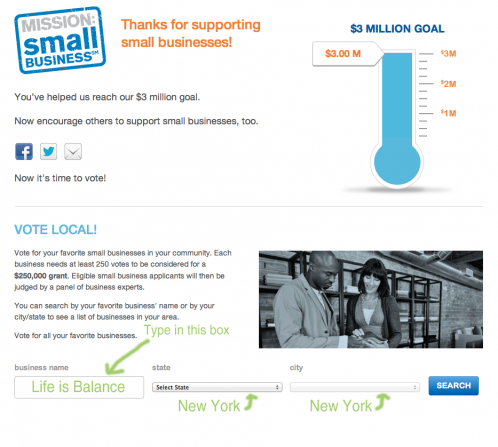 Vote for Life is Balance for a Mission:Small Business $250K Grant