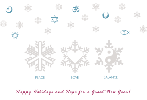 Happy Holidays Peace Love Balance